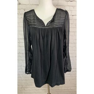 Lucky Brand Black Knit Long Sheer Sleeves Blouse